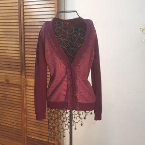 Maroon Ruffled Sweater